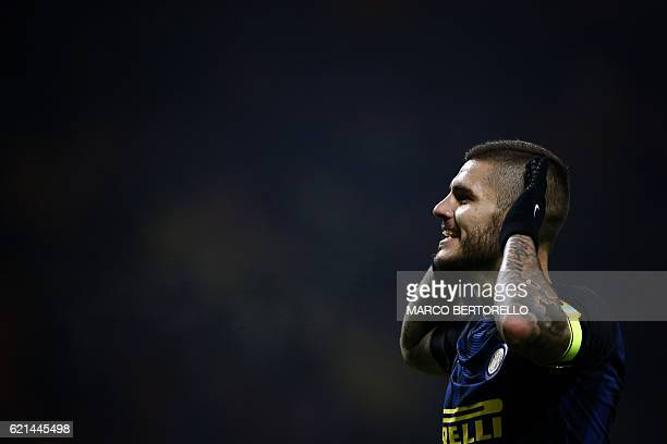Inter Milan's forward Mauro Emanuel Icardi from Argentina celebrates after scoring during the Italian Serie A football match Inter Milan Vs Crotone...