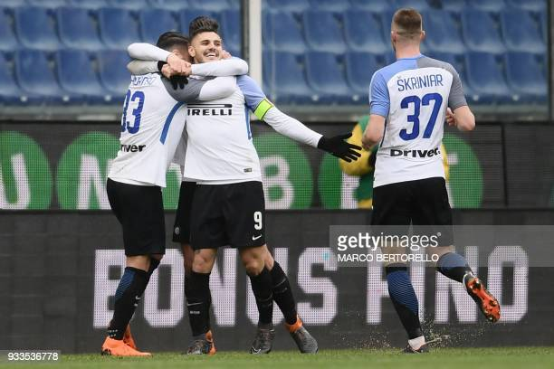 Inter Milan's forward Mauro Emanuel Icardi from Argentina celebrates after scoring during the Italian Serie A football match Sampdoria Vs Inter Milan...