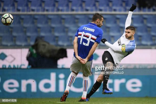 Inter Milan's forward Mauro Icardi from Argentina scores during the Italian Serie A football match Sampdoria Vs Inter Milan on March 18 2018 at the...