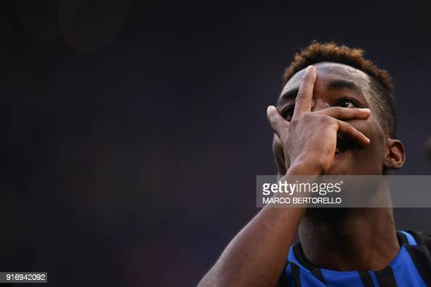 Inter Milan's French forward Yann Karamoh celebrates after scoring during the Italian Serie A football match Inter Milan Vs Bologna on February 11...