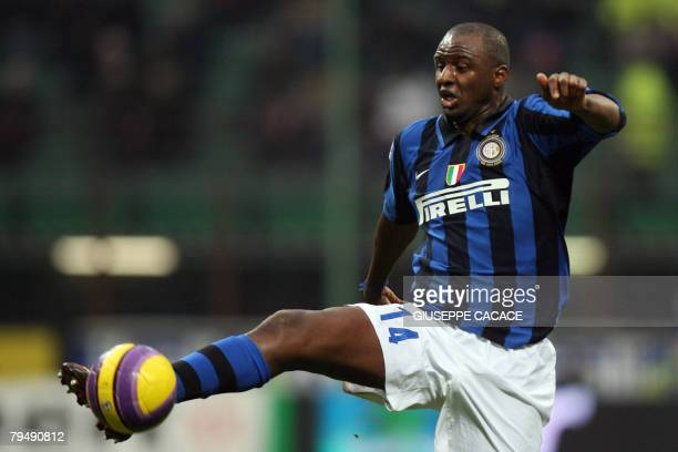 Inter Milan's French midfielder Patrick Vieira controls the ball during their 'Serie A' football match Inter vs Empoli at San Siro Stadium in Milan...