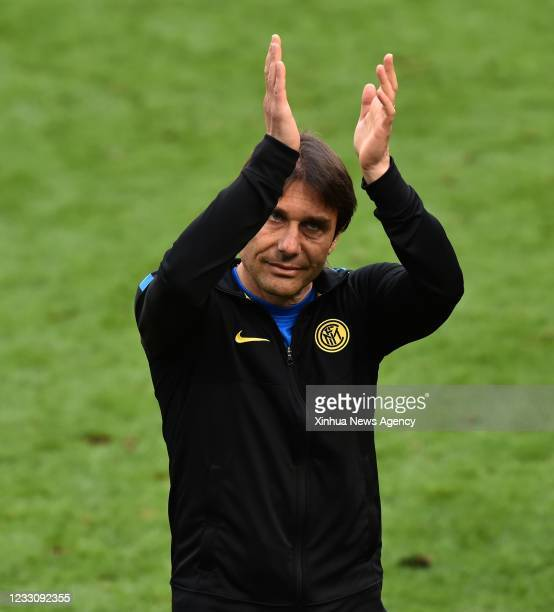 Inter Milan's head coach Antonio Conte celebrates after a Serie A football match between Inter Milan and Udinese in Milan, Italy, May 23, 2021.