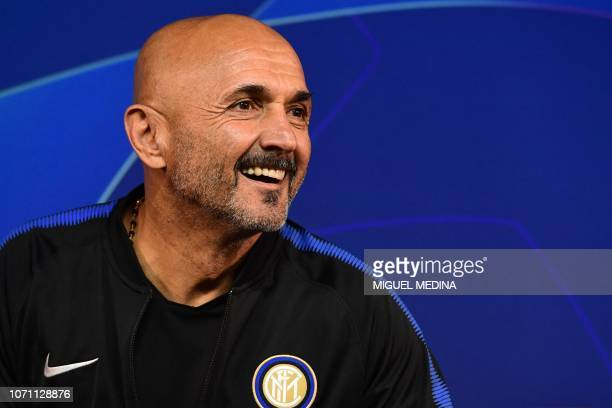 Inter Milan's head coach Luciano Spalletti smiles during a press conference on the eve of the UEFA Champions League group B football match Inter...