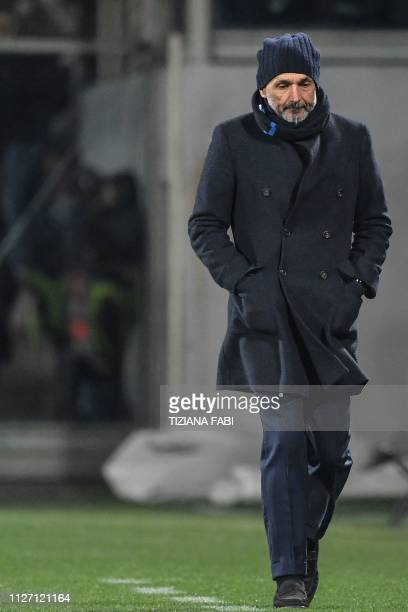 Inter Milan's head coach Luciano Spalletti walks along the touchline during the Italian Serie A football match Fiorentina vs Inter Milan on February...