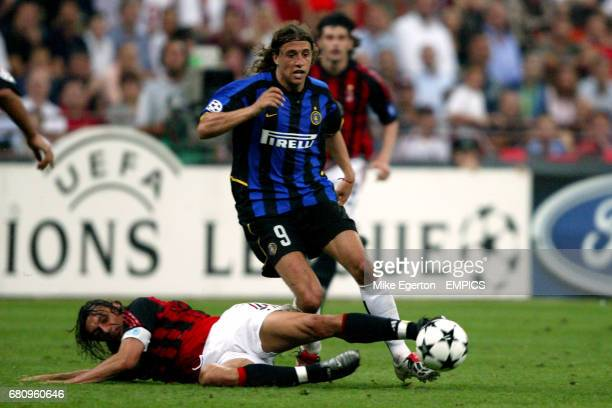 Inter Milan's Hernan Crespo is tackled by AC Milan's Paolo Maldini AC Milan's