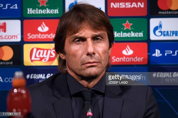 Inter Milan's Italian coach Antonio Conte gives a press conference at the Camp Nou stadium in Barcelona on October 1 2019 on the eve of the UEFA...