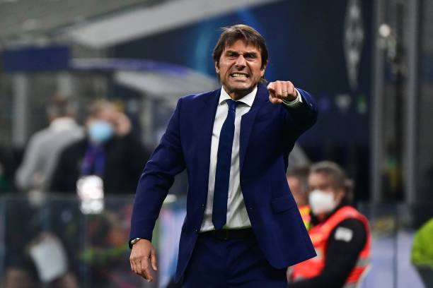 Inter Milan's Italian coach Antonio Conte reacts during the UEFA Champions League first round first leg, group B, football match between Inter Milan...