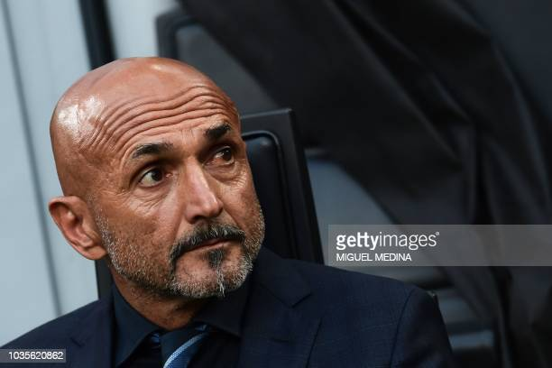 Inter Milan's Italian coach Luciano Spalletti attends the UEFA Champions League group stage football match Inter Milan vs Tottenham on September 18...