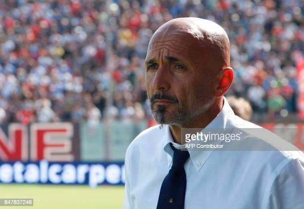 Inter Milan's Italian coach Luciano Spalletti looks on during the Italian Serie a football match FC Crotone vs FC Internazionale Milano on September...