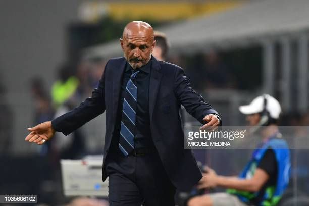 Inter Milan's Italian coach Luciano Spalletti reacts during the UEFA Champions League group stage football match Inter Milan vs Tottenham on...