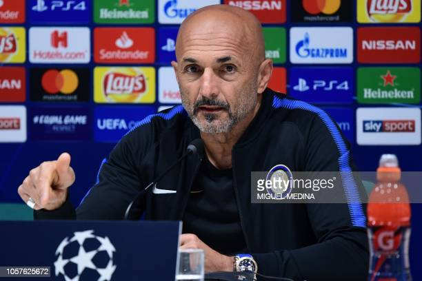 Inter Milan's Italian coach Luciano Spalletti speaks during a press conference on November 5 2018 at the San Siro stadium in Milan on the eve of the...