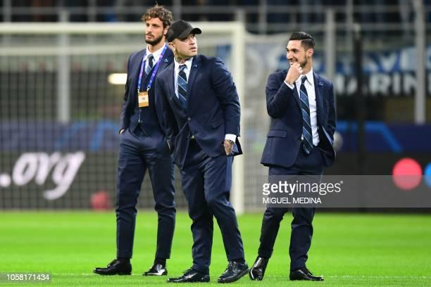 Inter Milan's Italian defender Andrea Ranocchia Inter Milan's Belgian midfielder Radja Nainggolan and Inter Milan's Italian midfielder Matteo...
