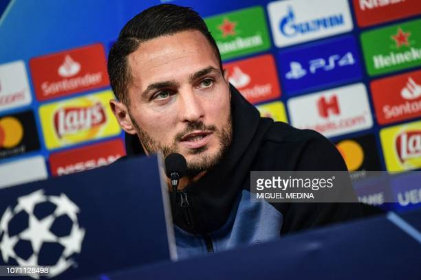 Inter Milan's Italian defender Danilo D'Ambrosio speaks during a press conference on the eve of the UEFA Champions League group B football match...