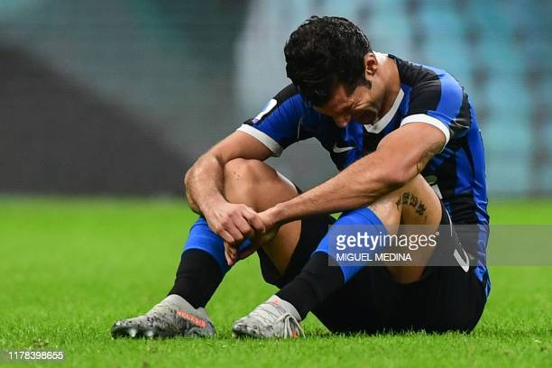 Inter Milan's Italian forward Antonio Candreva reacts at the end of the Italian Serie A football match Inter Milan vs Parma on October 26 2019 at the...