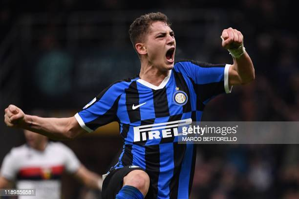 Inter Milan's Italian forward Sebastiano Esposito celebrates after scoring a penalty during the Italian Serie A football match Inter Milan vs Genoa...