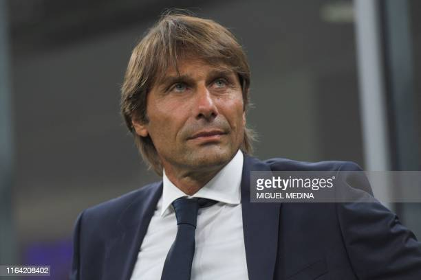 Inter Milan's Italian head coach Antonio Conte attends the Italian Serie A football match Inter Milan vs US Lecce on August 26, 2019 at the San Siro...
