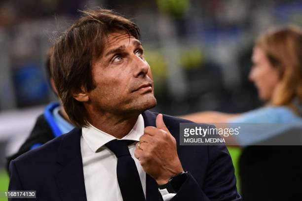 Inter Milan's Italian head coach Antonio Conte attends the Italian Serie A football match Inter Milan vs Udinese on September 14 2019 at the San Siro...