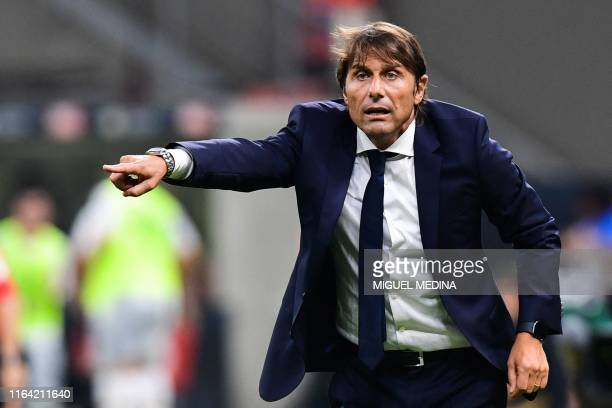 Inter Milan's Italian head coach Antonio Conte gives instructions during the Italian Serie A football match Inter Milan vs US Lecce on August 26 2019...