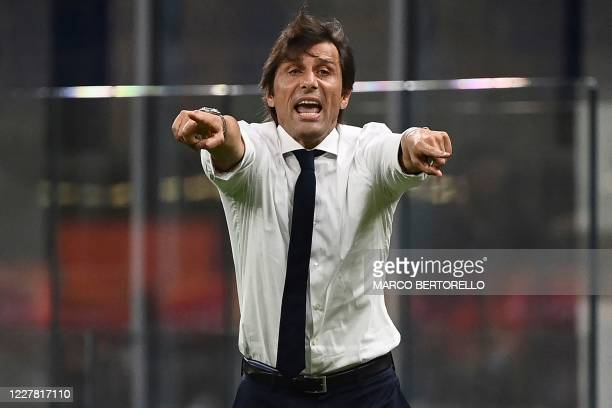 Inter Milan's Italian head coach Antonio Conte reacts during the Italian Serie A football match Inter Milan vs Napoli played behind closed doors at...