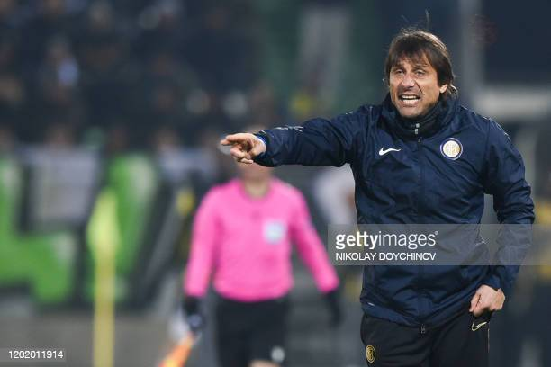 Inter Milan's Italian head coach Antonio Conte reacts during the UEFA Europa League round of 32 first leg football match between PFC Ludogorets 1945...