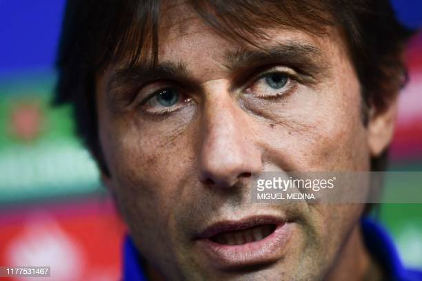 Inter Milan's Italian head coach Antonio Conte speaks during a press conference on October 22, 2019 in Appiano Gentile, on the eve of the UEFA...