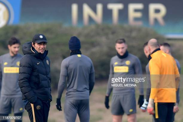 Inter Milan's Italian head coach Antonio Conte supervises a training session on December 9, 2019 in Appiano Gentile, on the eve of the UEFA Champions...