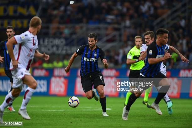 Inter Milan's Italian midfielder Antonio Candreva controls the ball during the Italian Serie A football match Inter Milan vs Cagliari on September 29...