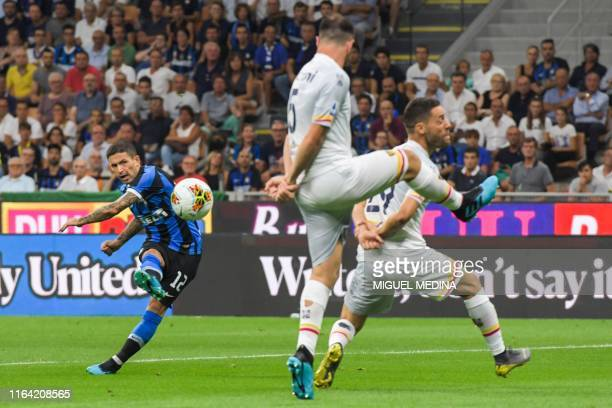 Inter Milan's Italian midfielder Stefano Sensi shoots on goal during the Italian Serie A football match Inter Milan vs US Lecce on August 26, 2019 at...