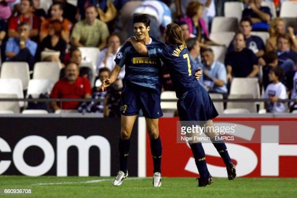 Inter Milan's Julio Ricardo Cruz celebrates scoring with Andy van der Meyde