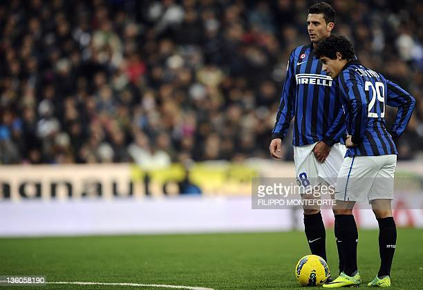 Inter milan's midfielde Couthino and teammate Thiago Motta look on against Cesena during their Serie A football match in Cesena's Mannuzzi Stadium on...