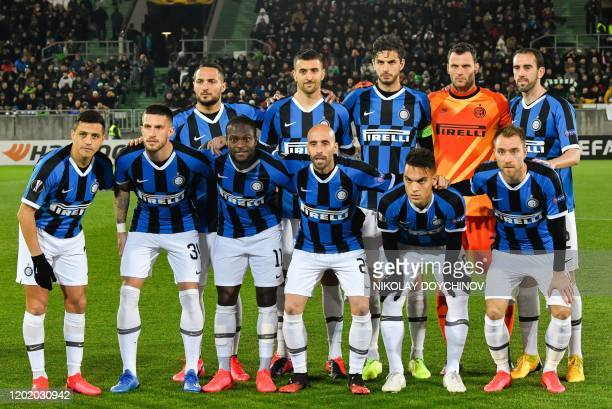 Inter Milan's players pose for the photographers prior to the UEFA Europa League round of 32 first leg football match between PFC Ludogorets 1945 and...