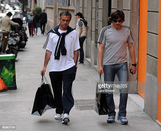 Inter Milan's Portuguese coach Jose Mourinho and assistant coach Rui Faria are seen shopping on April 08 2009 in Milan Italy