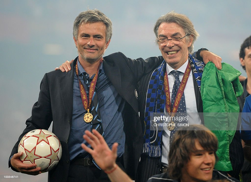 Inter Milan's Portuguese coach Jose Mourinho (L) and Inter Milan's president Massimo Moratti celebrate after winning the UEFA Champions League final football match Inter Milan against Bayern Munich at the Santiago Bernabeu stadium in Madrid on May 22, 2010. Inter Milan won the Champions League with a 2-0 victory over Bayern Munich in the final at the Santiago Bernabeu. Argentine striker Diego Milito scored both goals for Jose Mourinho's team who completed a treble of trophies this season.