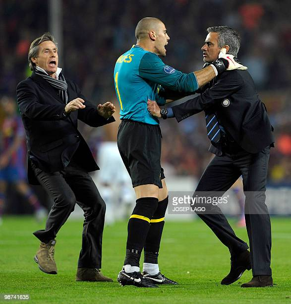Inter Milan's Portuguese coach Jose Mourinho argues with Barcelona's goalkeeper Victor Valdes after the UEFA Champions League semifinal second leg...