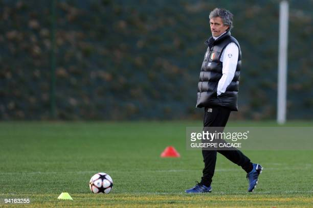 Inter Milan's Portuguese coach Jose Mourinho attends a training session of the team on the eve of their UEFA Champions League football match against...