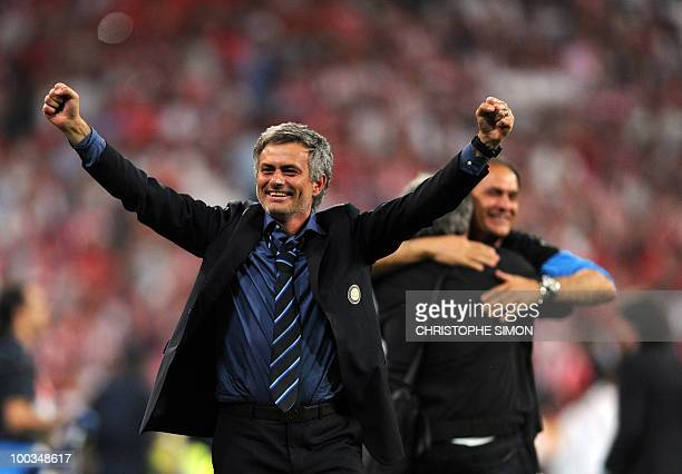 Inter Milan's Portuguese coach Jose Mourinho celebrates after the UEFA Champions League final football match Inter Milan against Bayern Munich at the...