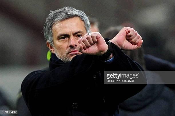 Inter Milan's Portuguese coach Jose Mourinho gestures during their Serie A football match Inter Milan vs Sampdoria at San Siro Stadium in Milan on...