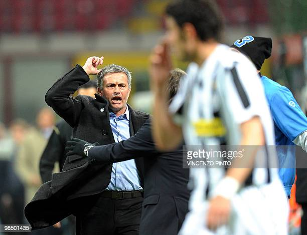 Inter Milan's Portuguese coach Jose Mourinho reacts during his team's Serie A football match against Juventus Turin at San Siro stadium in Milan on...