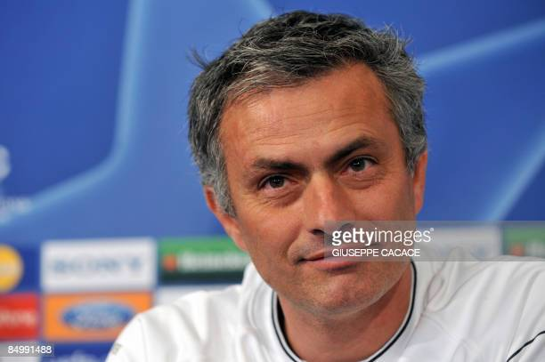 Inter Milan's Portuguese coach Jose Mourinho smiles during a press conference on the eve of his team's Champions League clash against Manchester...