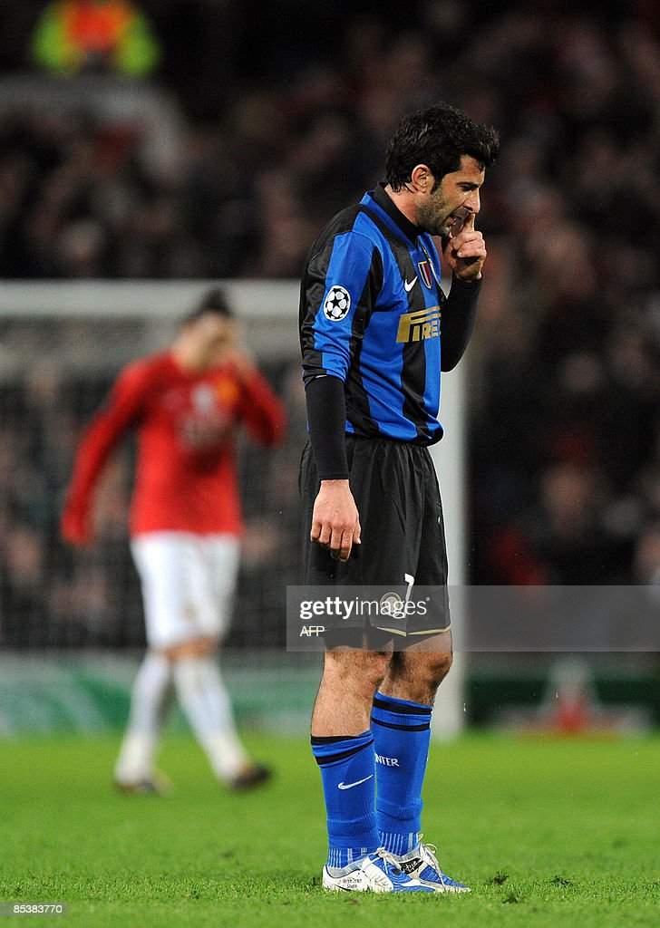 new style 7ee81 44132 Inter Milan's Portuguese midfielder Luis Figo reacts as his ...