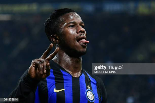Inter Milan's Senegalese forward Keita Balde celebrates after scoring his second goal during the Italian Serie A football match Inter Milan vs...