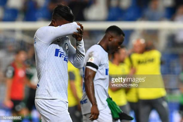 Inter Milan's Senegalese forward Keita Balde reacts as he leaves the pitch at the end of the Italian Serie A football match Sassuolo vs Inter Milan...