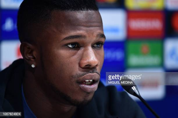 Inter Milan's Senegalese forward Keita Balde speaks during a press conference on November 5 2018 at the San Siro stadium in Milan on the eve of the...