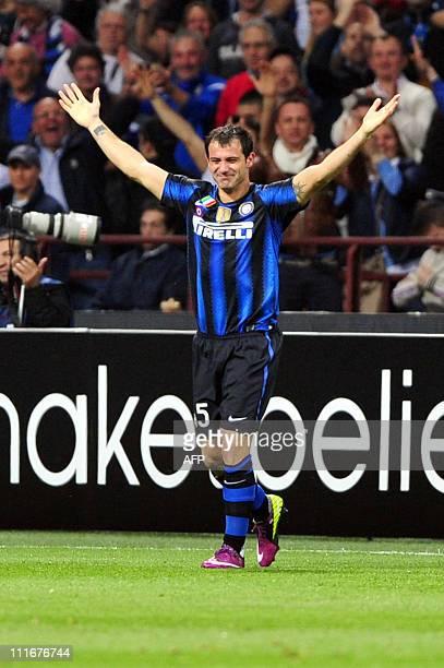 Inter Milan's Serbian midfielder Dejan Stankovic celebrates after scoring against Schalke 04 during their UEFA Champions League quarter final, first...