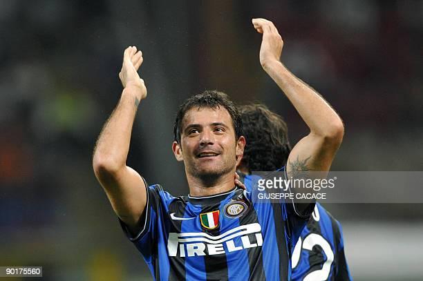 Inter Milan's Serbian midfielder Dejan Stankovic celebrates after scoring during their Serie A football match AC Milan vs Inter Milan at San Siro...