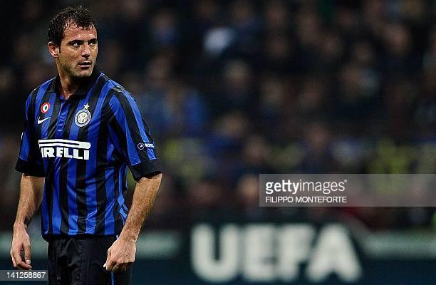 Inter Milan's Serbian midfielder Dejan Stankovic reacts against Marseille during their second leg Champions League round of 16 football match in...