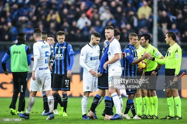 Inter Milan's Slovak defender Milan Skriniar reacts at the end of the Italian Serie A football match Atalanta Bergamo v Inter Milan at the Atleti...