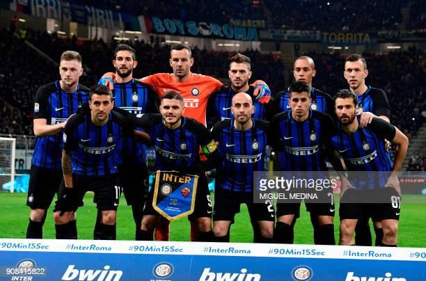 Inter Milan's Slovakian defender Italian defender Andrea Ranocchia Slovenian goalkeeper Samir Handanovic Italian defender Davide Santon Brazil...
