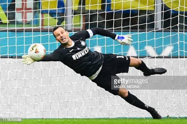 Inter Milan's Slovenian goalkeeper Samir Handanovic saves a ball during the Italian Serie A football match Inter Milan vs Parma on October 26, 2019...