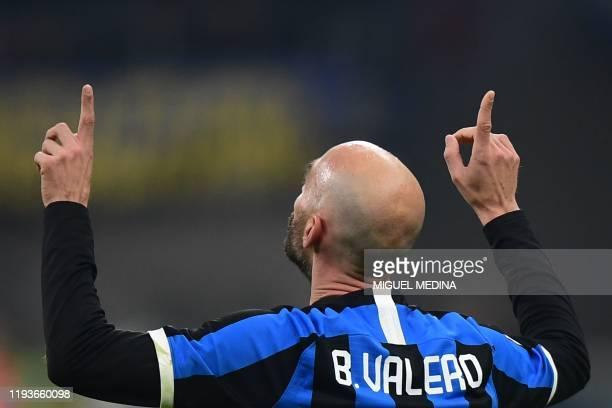 Inter Milan's Spanish midfielder Borja Valero celebrates after scoring during the Italian Cup round of 16 football match Inter Milan vs Cagliari on...